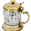 A baroque part gilt cast and chased silver tankard, hamburg, 3rd quarter of 17th century, maker's mark of heinrich lambrecht ii