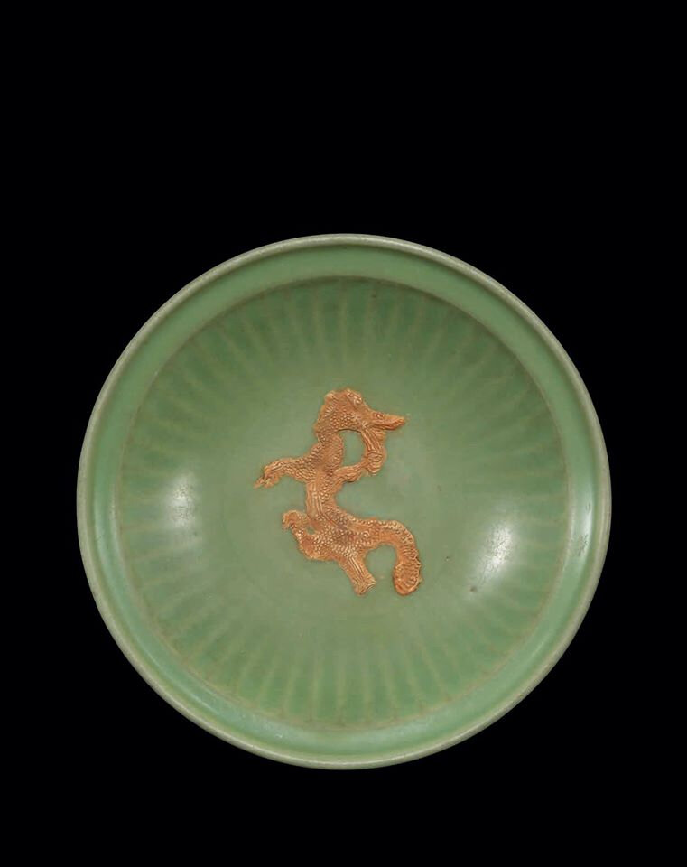 A large Longquan celadon charger, 14th century