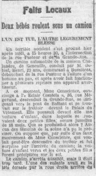 accident 26 mai 1923 Petit Comtois