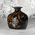 A rare russet-splashed dark brown-glazed truncated vase (tulu ping), northern song dynasty (960-1127)