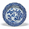 A blue and white qilin basin, late ming dynasty, early 17th century
