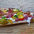 Tartines colorées, courgettes, tomates et pancetta