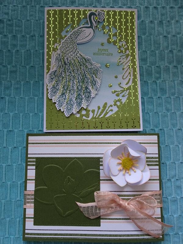 9c Atelier Carte Magnolia et carte Paon Etiquettes imbriquées