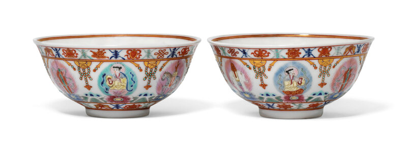 A pair of famille rose gilt-decorated 'Baragon Tumed' bowls, Daoguang period (1821-1850), Iron-red 'Baragon Tumed' marks in Mongolian script