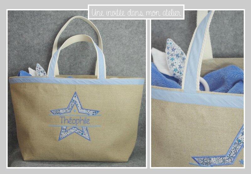 sac cabas-personnalisé-cadeau de naissance-Liberty adelajda bleu