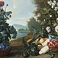 François desportes (champigneulle 1661 - 1743 paris), fruits, fleurs et légumes dans un paysage