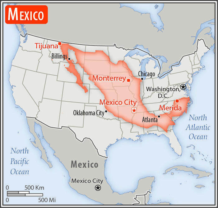 Size comparison between Mexico and the United States