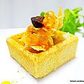 Mini trendy carré au beurre, garni de filet de thon blanc/ d'ail noir et capsaïcine aux perles de citron