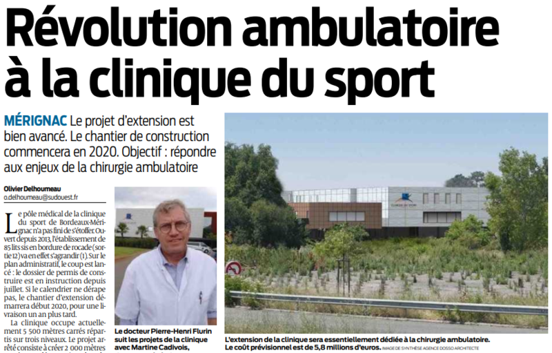 2019 09 14 SO Révolution ambulatoire à la clinique du sport
