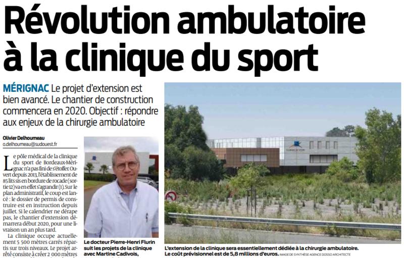 2019 09 14 SO Révolution ambulatoire à la clinique du sport
