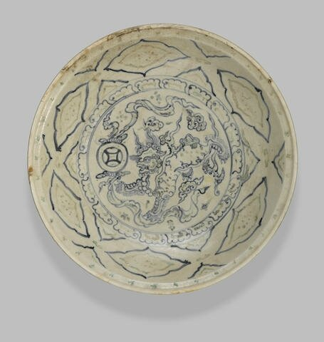 A good underglaze blue and enamel-decorated large dish Vietnam, late 15th-early 16th century