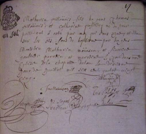 1685 le 10 février naissance de Mathurin Gillouais à La Chapelle du Lou