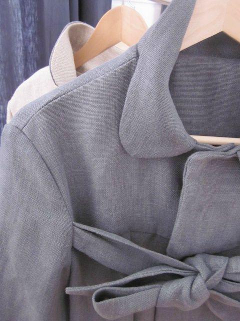 manteau en lin gris ardoise à noeud (6)