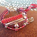 Bracelet perle de rocaille rouge miyuki delica