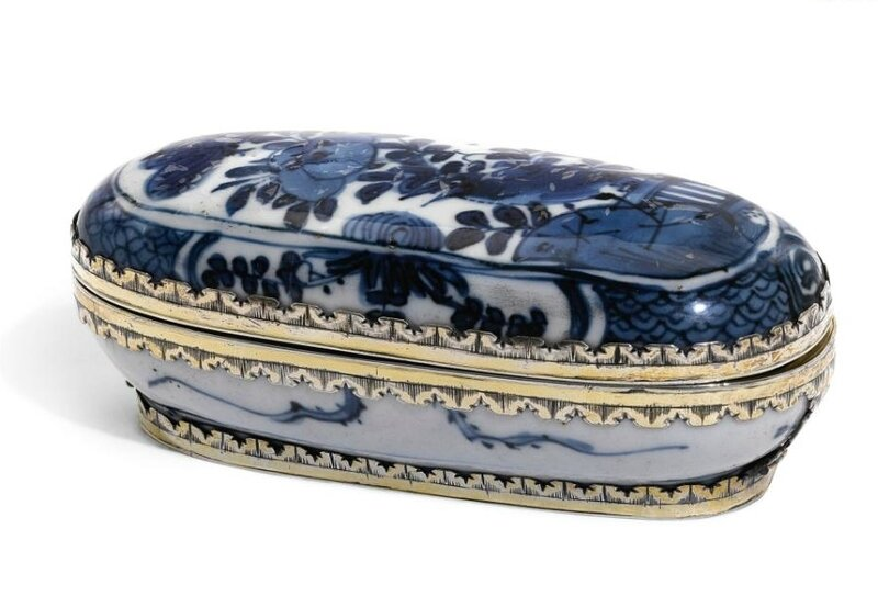 A silver-gilt mounted Chinese blue and white porcelain box, the body Wanli, 1573-1619, the mounts, unmarked, probably Dutch or English, circa 1680