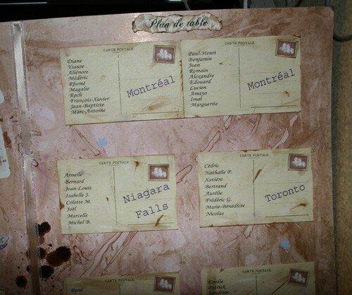 Détail plan de table : carte postale 2