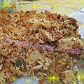 Pommes, poires & chocolat en crumble de madeleine