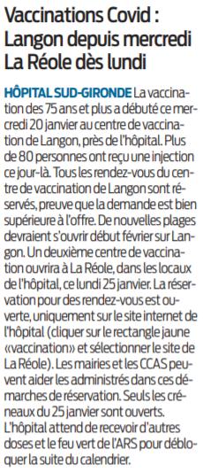 2021 01 22 SO Vaccinations Covid Langon depuis mercredi La Réole dès lundi