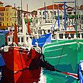 Saint Jean, le port 1970, huile sur toile 60x60 cm