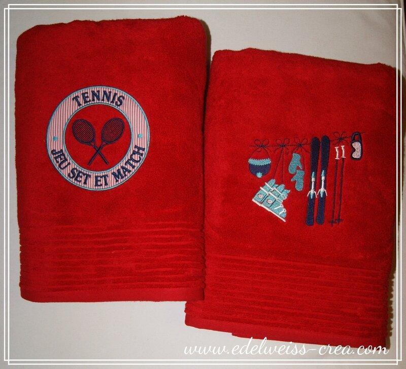 Serveitte de toilette rouge - Broderie ski et tennis