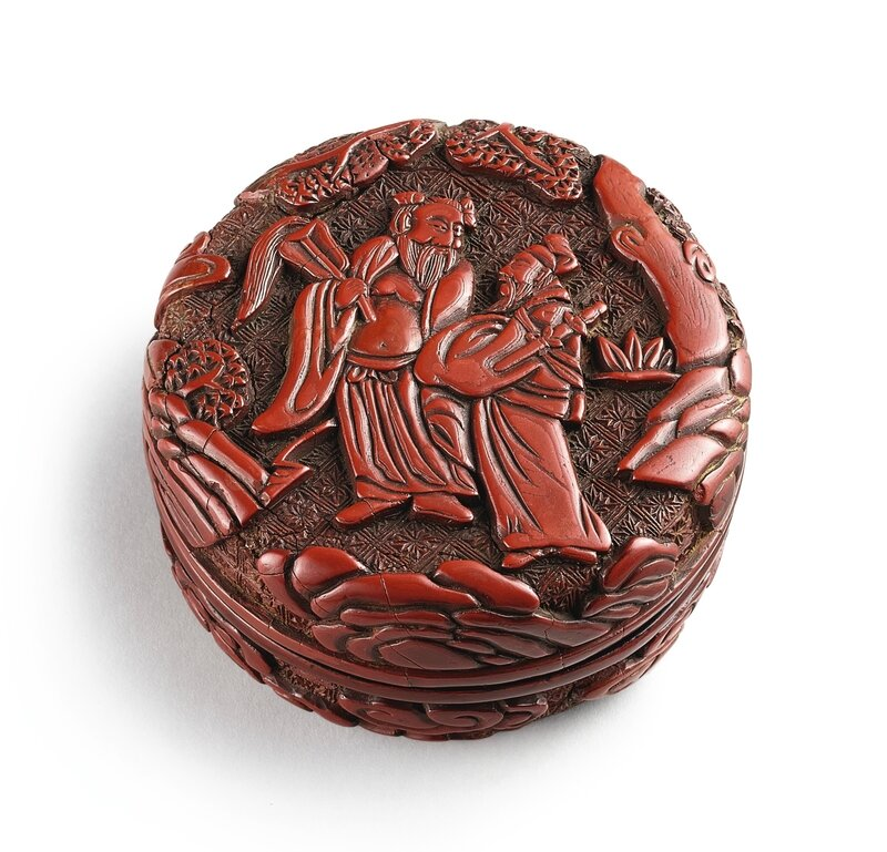 A cinnabar lacquer carved 'Immortals' incense box and cover, Ming dynasty, 16th century