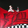 Autoportrait rouge et damiers