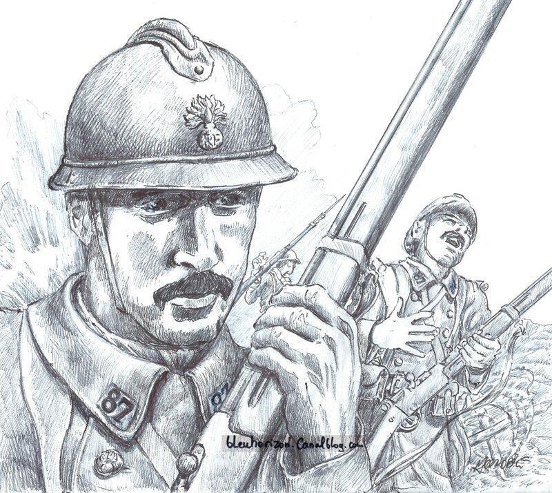 dessin michel-1917-Attaque 87 ème RI