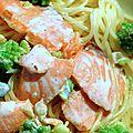 Spaghetti au saumon fumé et romanesco :