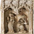 Lorraine, neufchâteau, vers 1500, sainte barbe et sainte marguerite, retable en pierre sculptée en haut relief