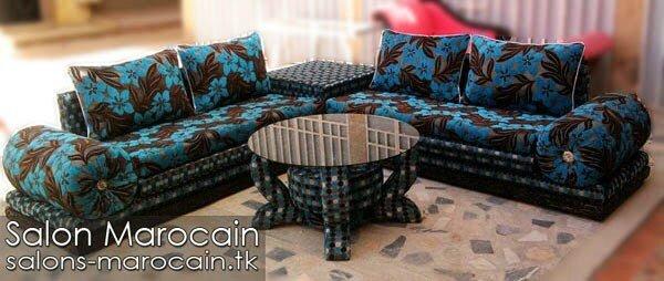 Salon marocain moderne bleu noir - Salon marocain moderne 2014