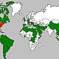 Carte des pays victimes des usa