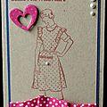 Carte un brin rétro avec ruban à pois plissé pour la fête des mères