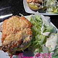 Pommes de terre farcies au saumon/poireau/champignons