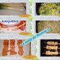 Brochettes de saumon sur lit de fondue de poireaux au raifort