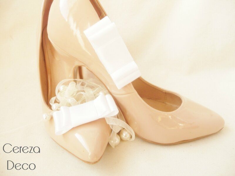 clips chaussure mariage noeud satin blanc customiser escarpin nude cereza deco 5