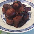 Tofu sauté aux champignons, sauce à la confiture de cerises noires