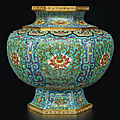 An exceptionally rare and large hexagonal cloisonné enamel 'lotus' baluster vase, qing dynasty, qianlong period (1736-1795)