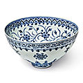An exceptional and rare blue and white 'floral' bowl, ming dynasty, yongle period (1403-1424)