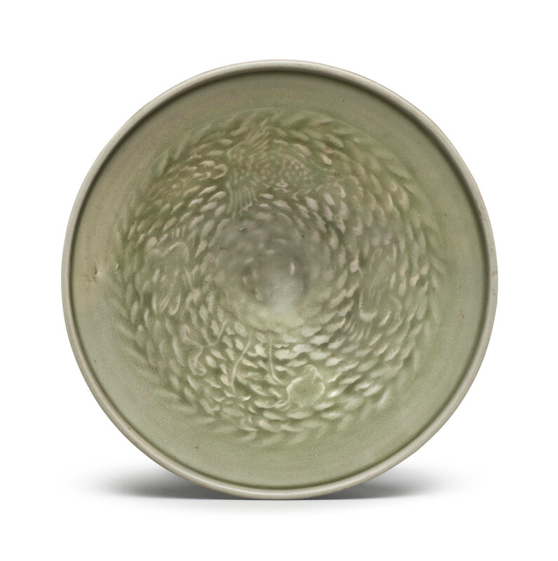 An unusual large Yaozhou celadon molded conical bowl, Northern Song-Jin dynasty (960-1234)