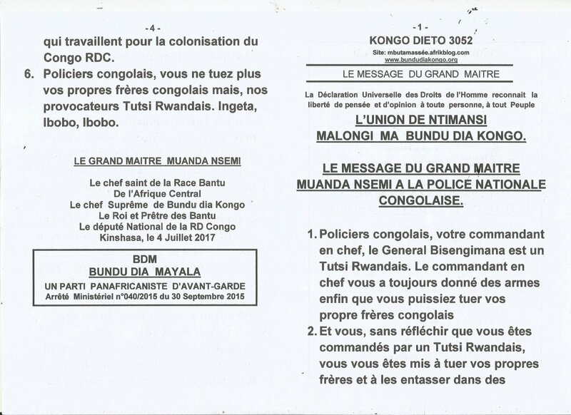 LE MESSAGE DU GRAND MAITRE MUANDA NSEMI A LA POLICE NATIONALE CONGOLAISE a