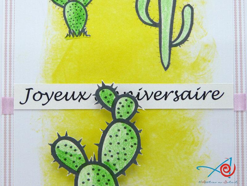 Carte cactus - détail sentiment L'Atelier au soleil