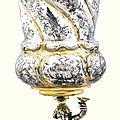 A large german parcel-gilt silver cup and cover, gödert bodtstede, hamburg, 1664-1670