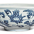 A blue and white 'lotus' bowl, ming dynasty, 15th century