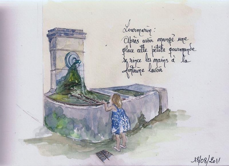 Lourmarin : Fontaine lavoir(carnet de voyage n° 3)