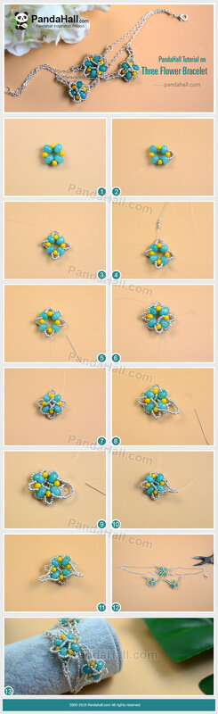 4PandaHall-Tutorial-on-Three-Flower-Bracelet