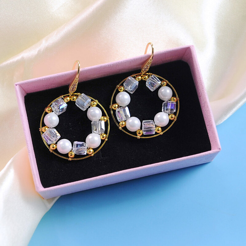 PandaHall Tutorial on Delicate Glass Beads Wire Wrapped Earrings-4