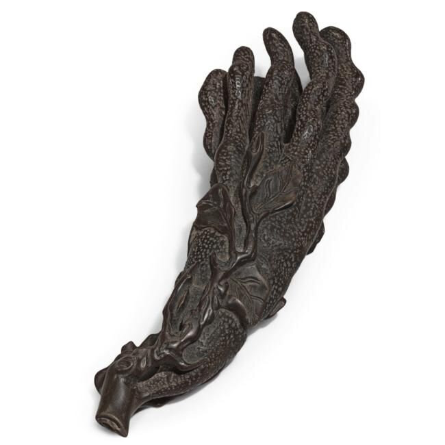 Lot 17. An extremely rare rhinoceros horn carving of a finger citron, Qing dynasty, 19th century or earlier; 16.3cm., 6 3/8 in. Estimate 40,000—60,000 GBP. Lot Sold 55,250 GBP. Photo Sotheby's