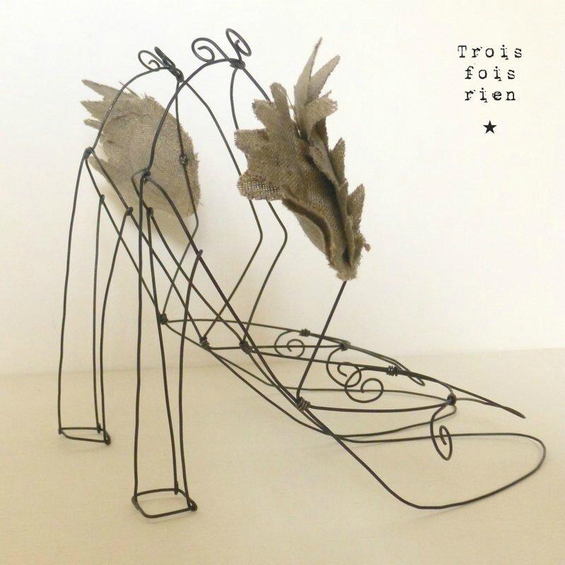Escarpins de 7 lieues, chaussures ailées, chaussures fil de fer, escarpins, wire shoes, wings 4