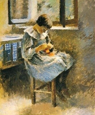 Theodore Robinson, (American Impressionist painter 1852-1896) Girl Sewing 1886