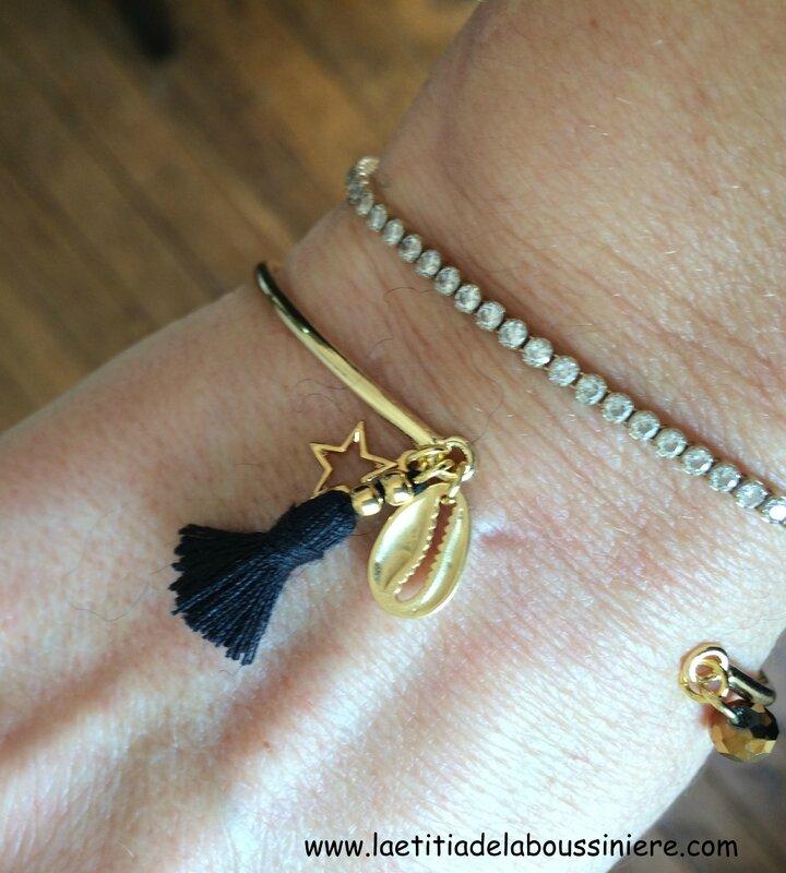 Bracelet Agatha (noir et doré) détails - 14 €